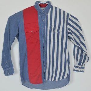 Roper rodeo blue denim western shirt large